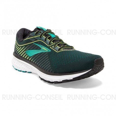 BROOKS GHOST 12 Homme   Black/Lime/Blue Grass