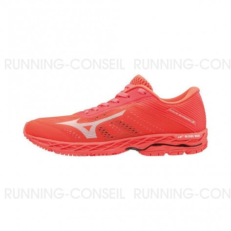 MIZUNO WAVE SHADOW 3 FEMME - Fiery Coral / White / Fiery Coral