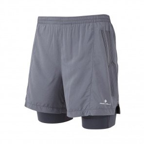 RONHILL Short TWIN MARATHON INFINITY Homme | Charcoal/Grey | Collection Printemps-Été 2019